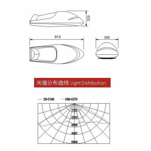 ocsen一体飞机led路灯头尺寸图及配光曲线图